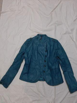 XNTRIK Original Genuine Leather Jacket Blue Green