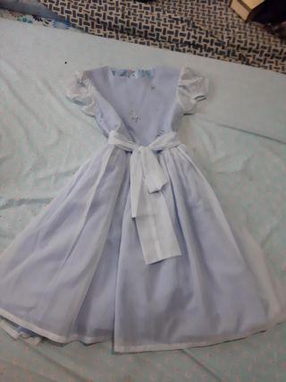 Blue White Ribbon Sunday Church Formal Dress