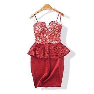 BN Red bustier peplum short lace tube dress