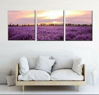 In stock -3pcs Lavender Canvas Painting