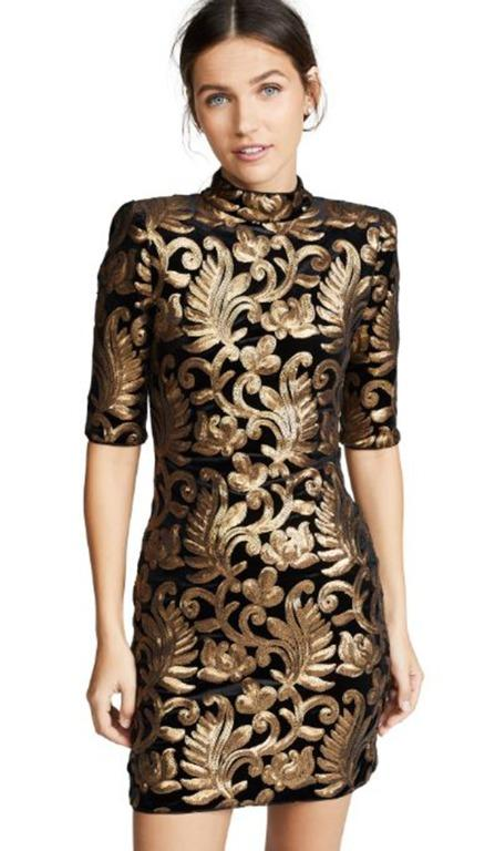 Alice + Olivia Inka Strong Shoulder Fitted Dress Mock Neck Black Gold Size 10 NEW