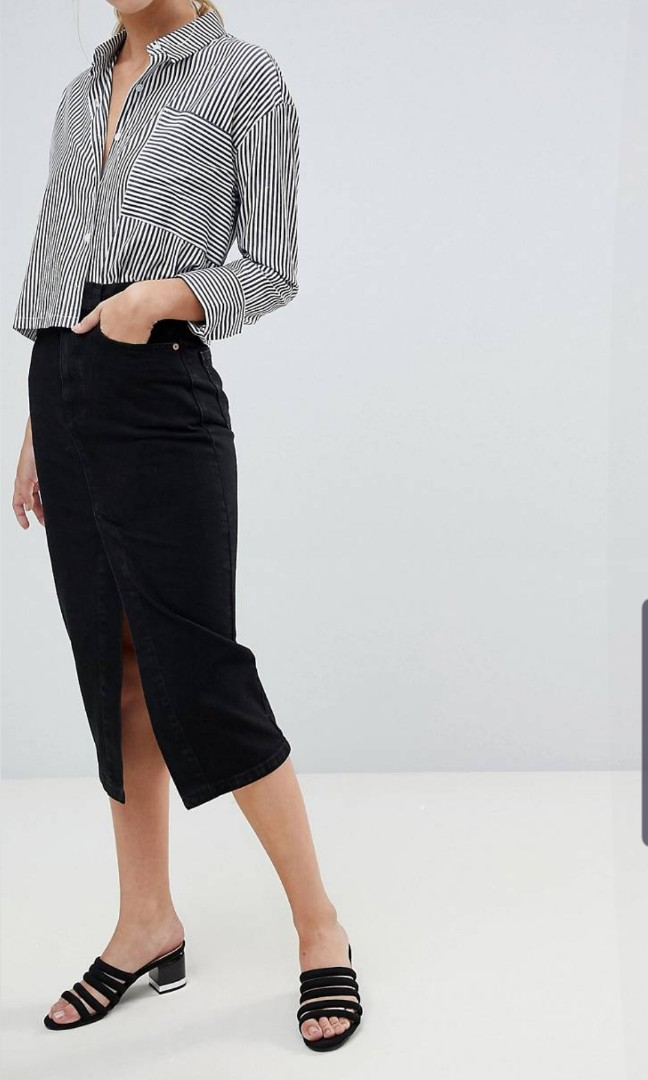 ASOS Denim Midi Skirt with Split Front in Washed Black