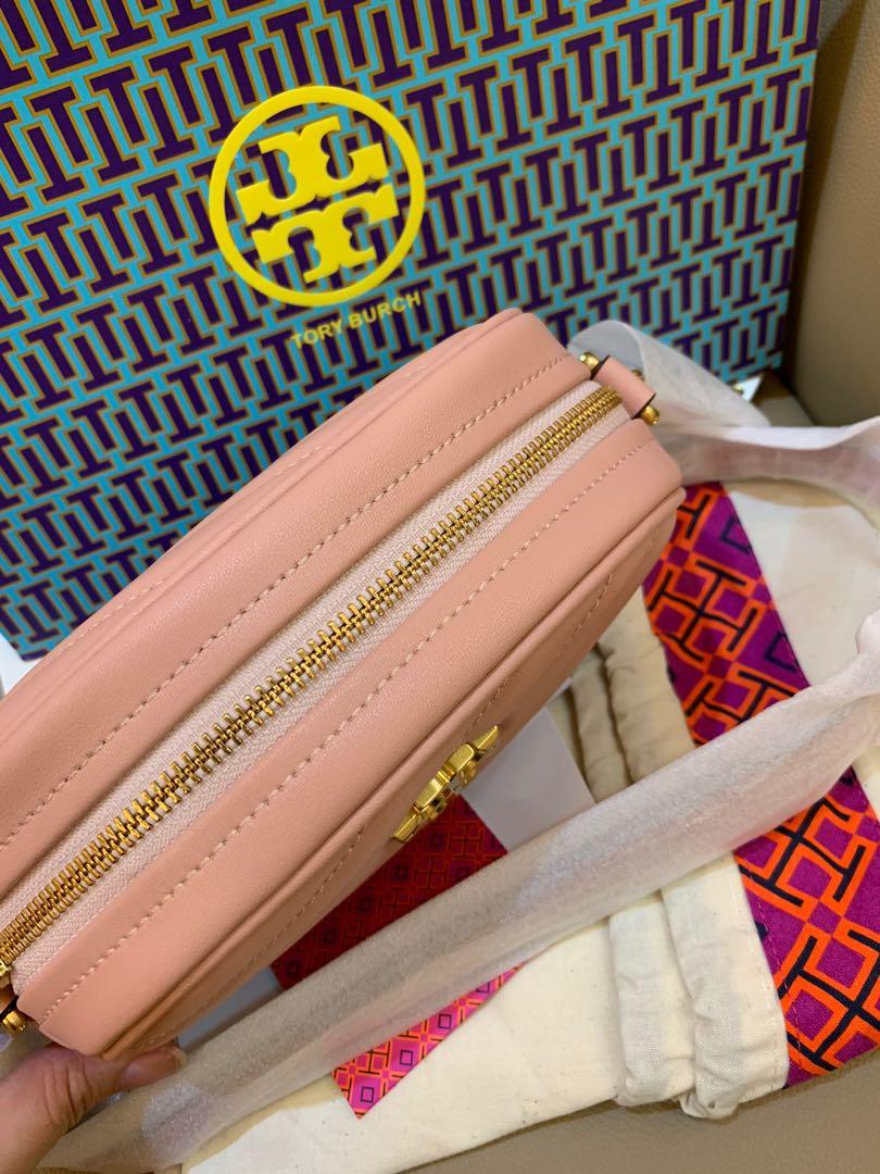 Authentic Tory Burch Kira chevron mini camera bag in pink moon colour