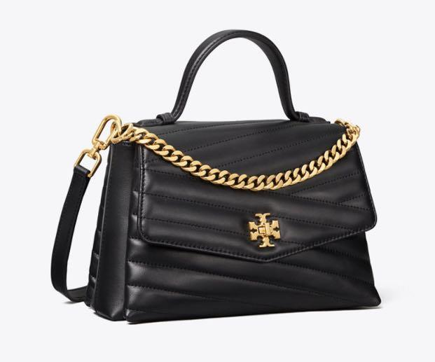 Authentic Tory Burch top handles Kira chelvon in black with sling strap
