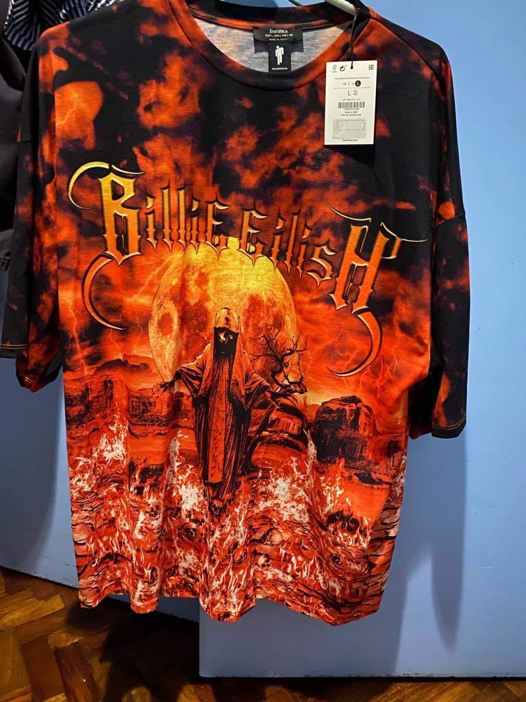 Billie Eilish X Bershka T Shirt And Shorts Flame Bermudas Men S Fashion Clothes Tops On Carousell
