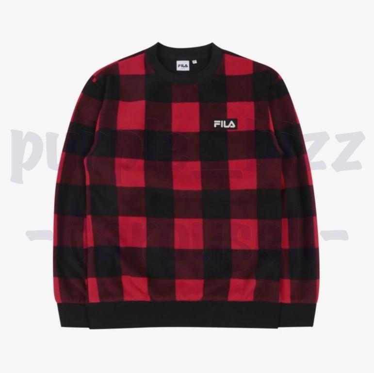 BTS FILA Check Boa Sweatshirt Dark Red FS2POB4101X_DRD