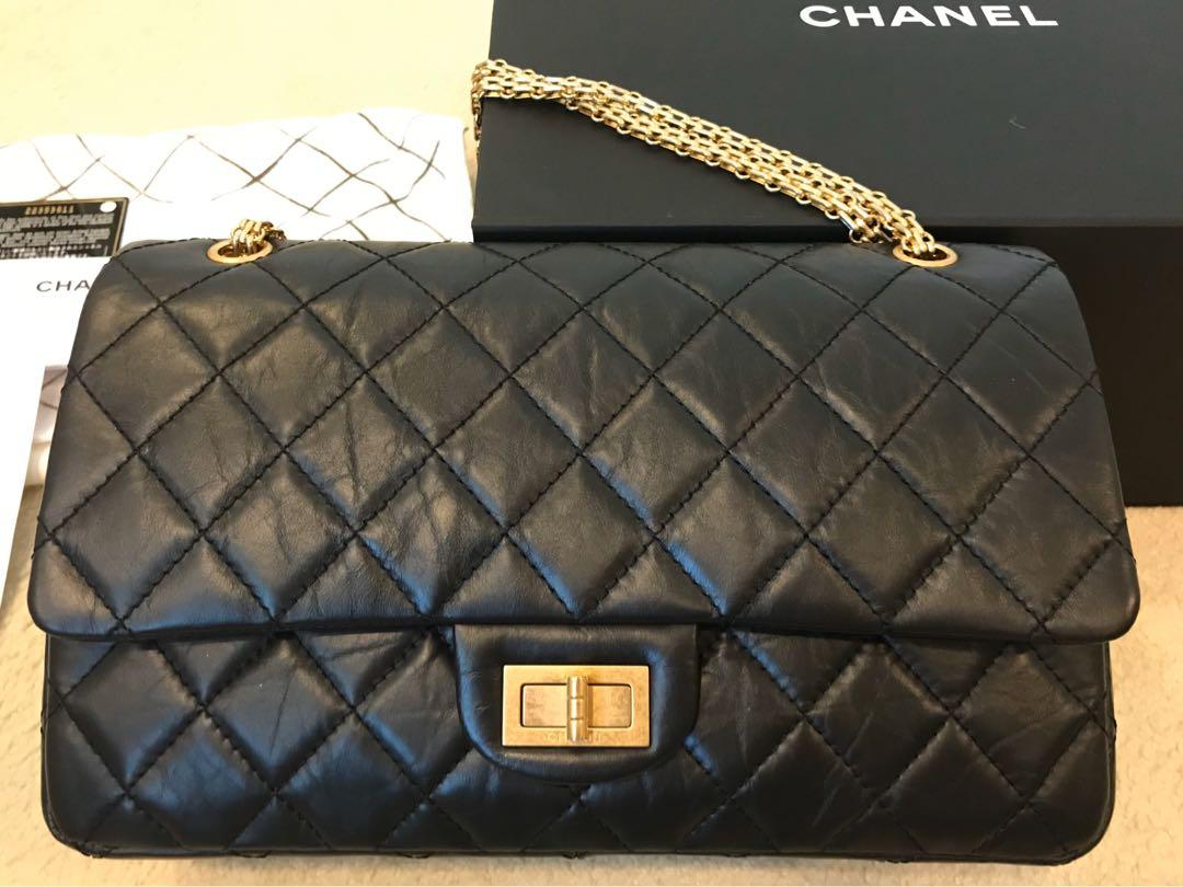 Chanel 2.55 large aged calfskin black with gold tone metal , classic  model, original packing, card & receipt
