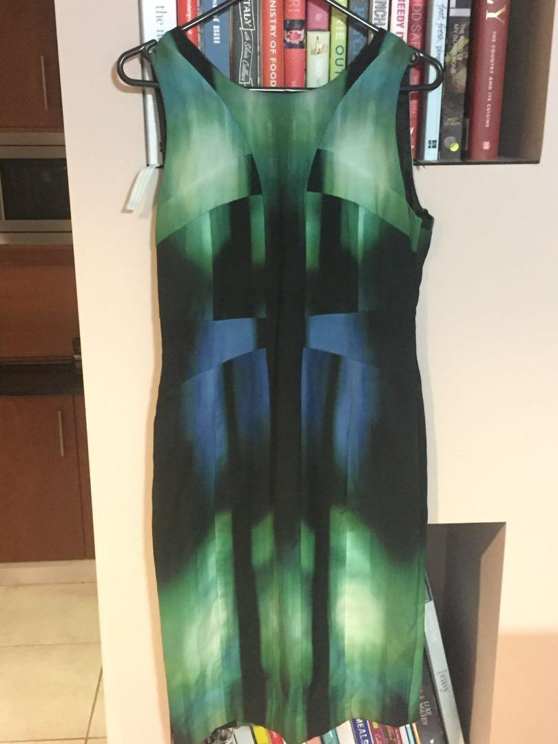 David Lawrence Green And Black Corporate Work Dress