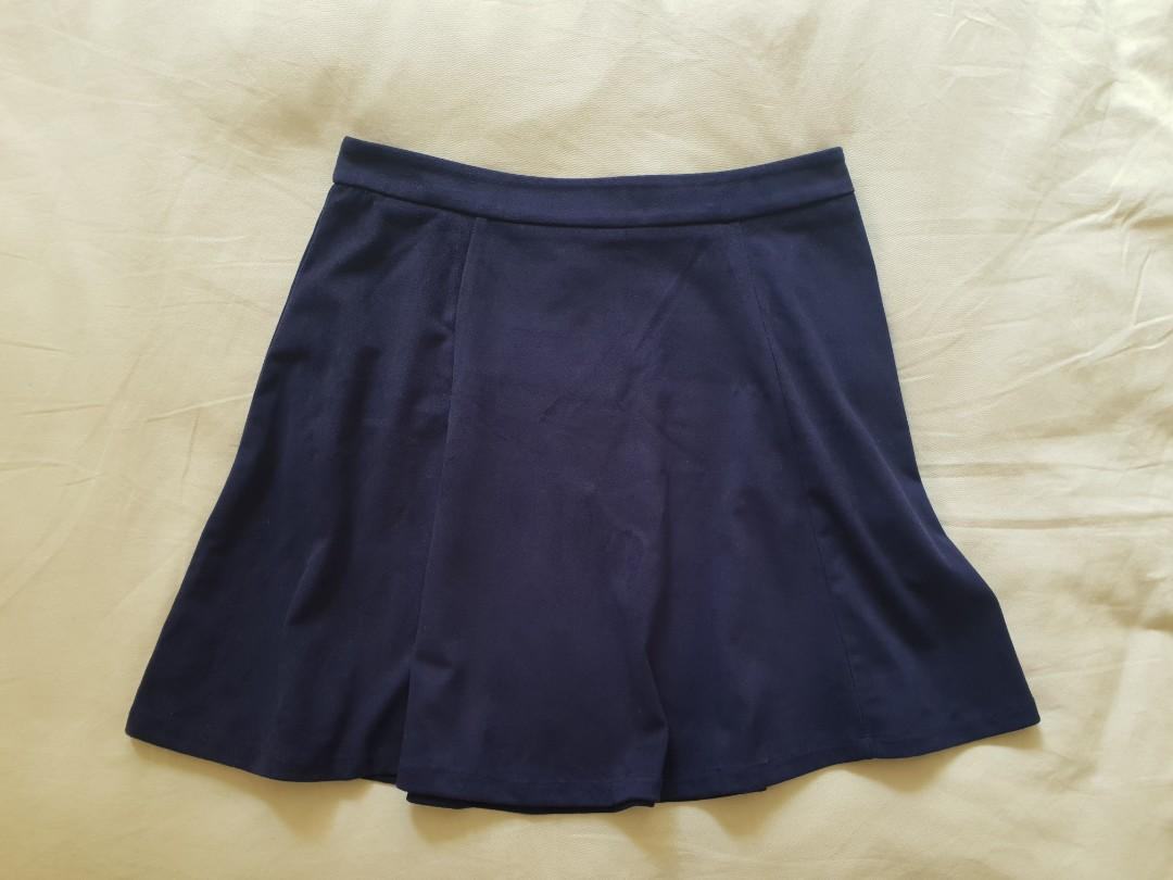 Forever 21 Skater Suede high waisted Skirt in Navy Blue