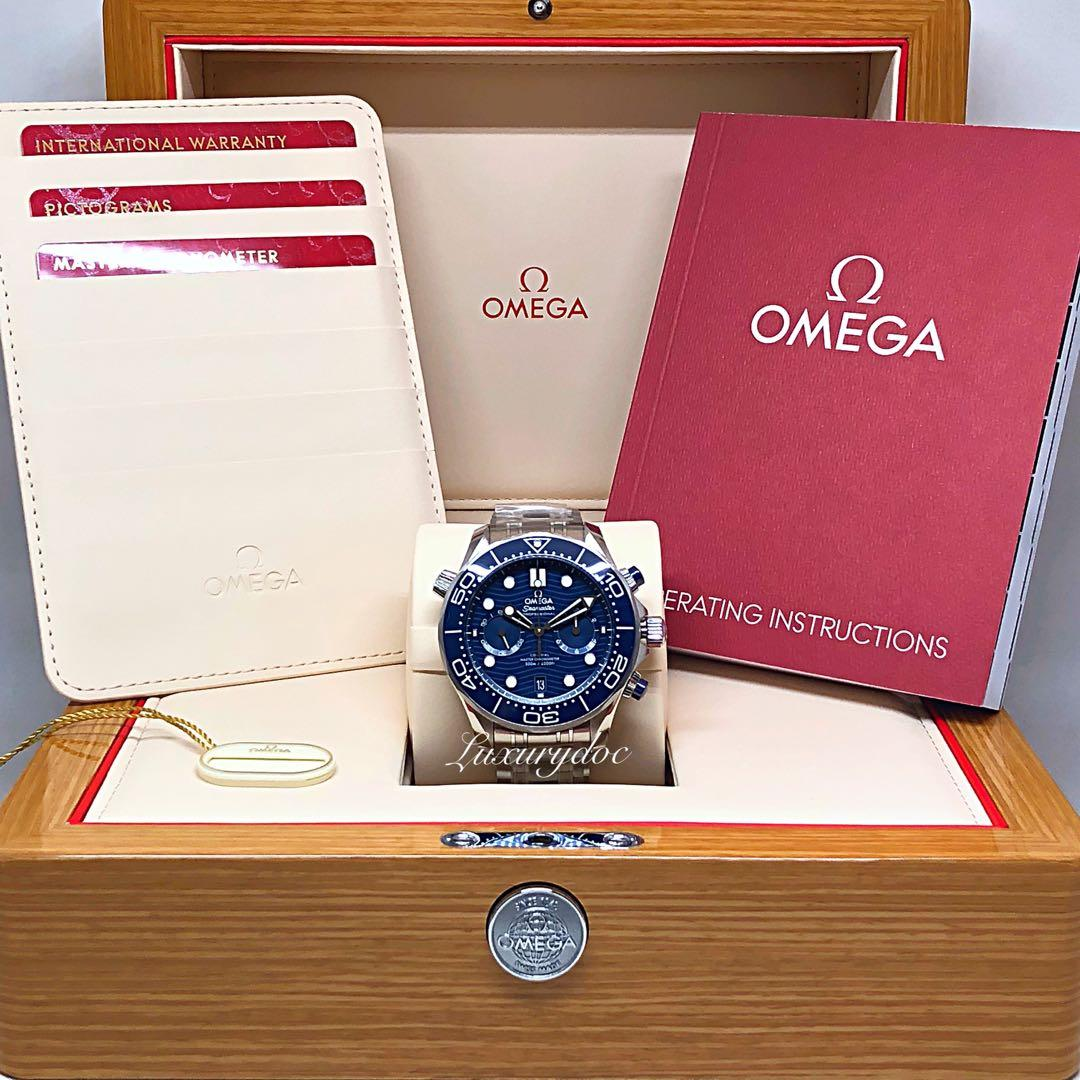 FS.BNIB OMEGA LATEST SEAMASTER DIVER 300M CO-AXIAL MASTER CHRONOMETER AUTOMATIC CHRONOGRAPH BLUE ON BRACELET 44MM WATCH 210.30.44.51.03.001