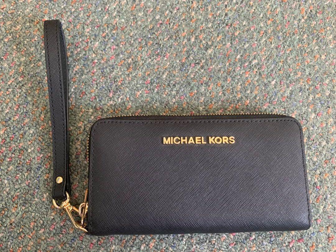 Genuine Michael Kors black saffiano leather wristlet wallet