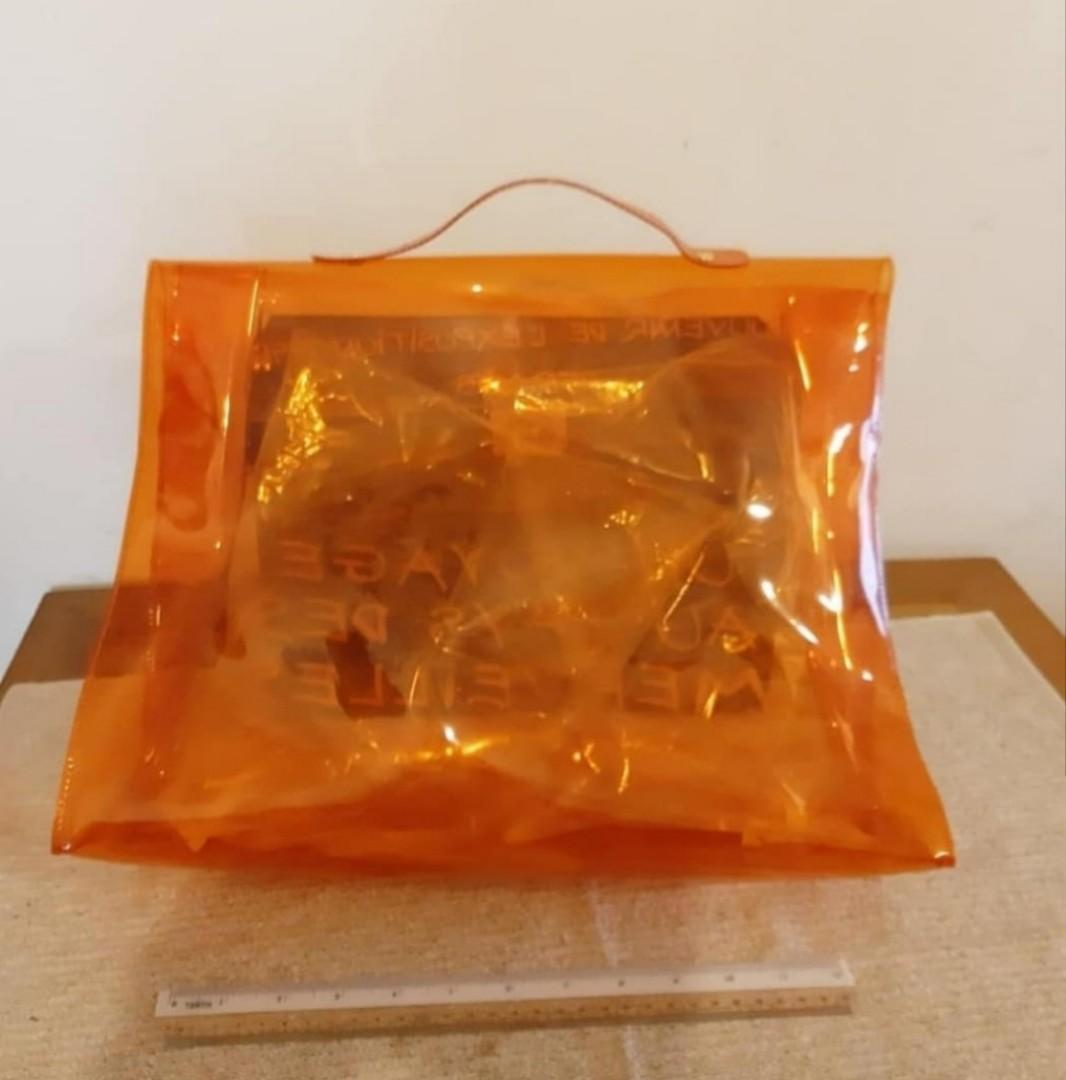HERMES NOVELTY CLEAR KELLY BAG , NOT A STORE RETAIL ITEM - GIVEN FROM EXPO IN JAPAN DURING THE 90'S - RESTORED  TO EXCELLENT CONDITION, HARDWARE HAS BEEN RESTORED & FONT HAS BEEN RE-STENCILED, POLISHED SHINY NEW ! - CERTIFICATE OF RESTORATION PROVIDED