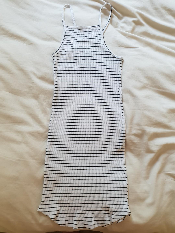 H&M Basic black and white stripe summer dress body con small