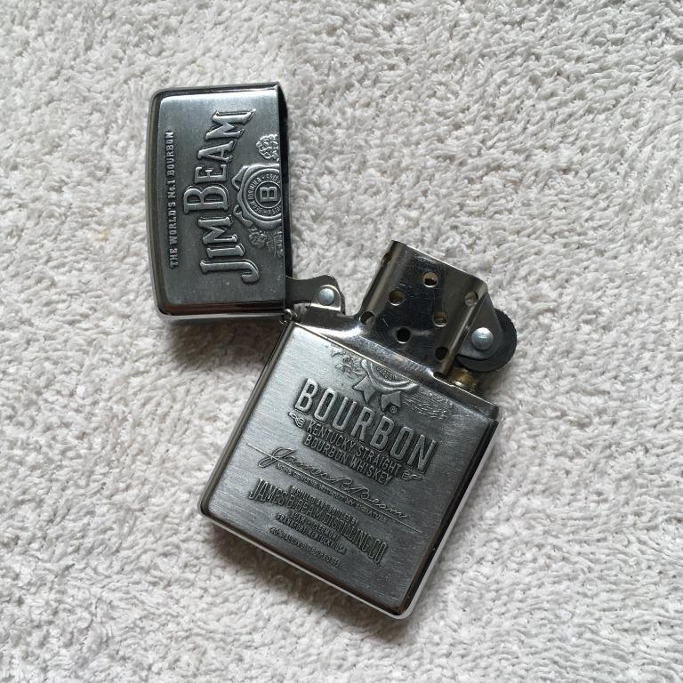 Jim Beam Bourbon Emblem Zippo Chrome Metal Lighter Collectible