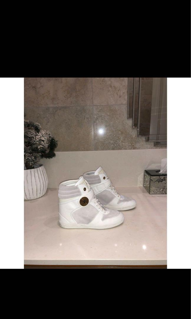 Luis Vuitton white Epi leather and suede high top sneakers