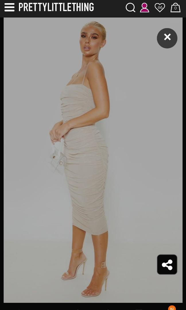 Pretty Little Thing Nude Strappy Mesh Ruched Midaxi Dress
