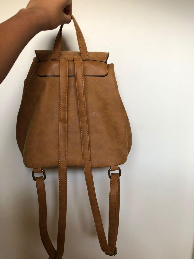 Princess Highway Brown Leather Backpack with Embroidery