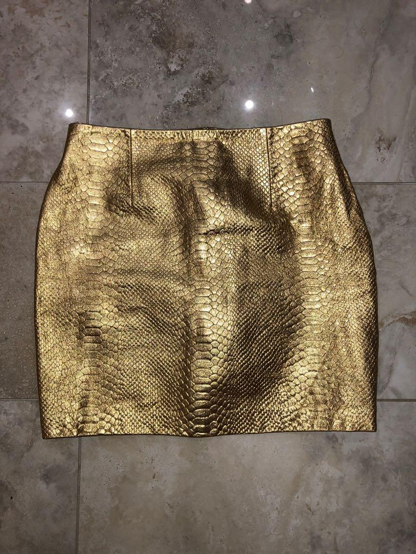 Torannce gold python print gold leather skirt size 10