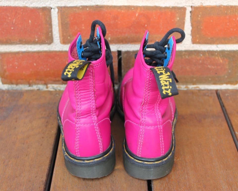 Vintage Doc Marten Original Boots (9566), Hot Pink, UK Size 5