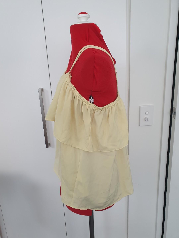 Zalora - off shoulder yellow Ruffle top - size S  #swapau
