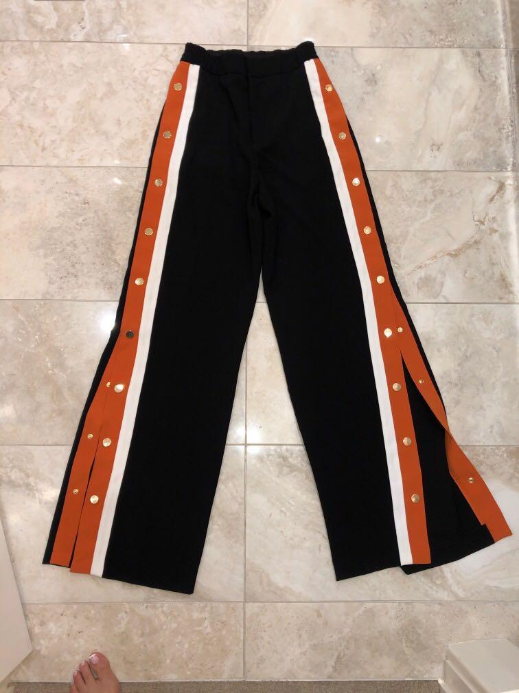 Zara burnt orange /cream stripe black snap pant with gold buttons size S