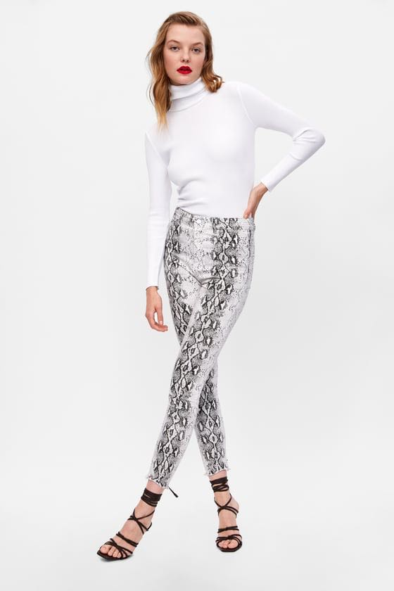 Zara high waisted snake print black and white jeans size 8