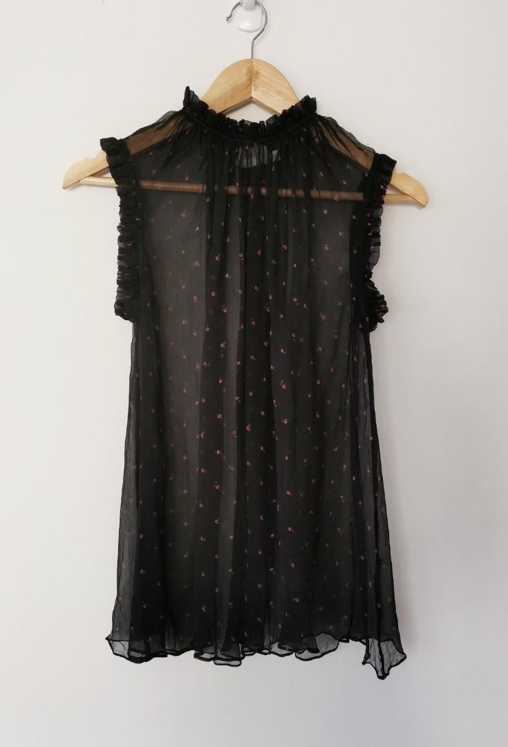 Zimmermann Mischief Ruffle Silk Top in Black Floral - Size 0 RRP $295