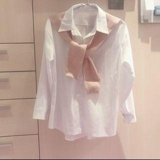 全新粉色包心紗披肩白色襯衫