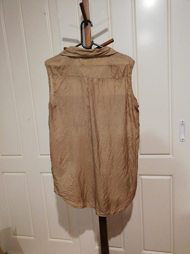 10/M - Bardot - Sleeveless Button-Up Tan Silky Shirt/Dress