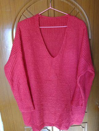 二手紅針織(毛衣)