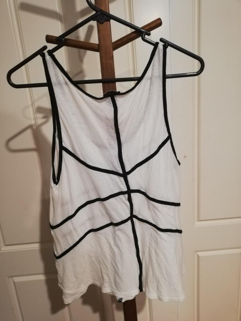 1/XS - Kookai - White Singlet w Black Ribbing Decal