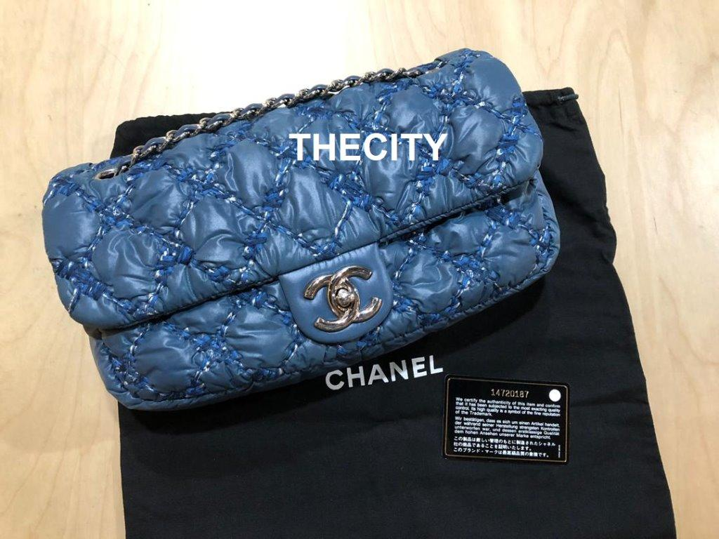 AUTHENTIC CHANEL TWEED STITCH BUBBLE FLAP BAG - VERY GOOD CONDITION - WITH DUSTBAG & AUTHENTICITY CARD - (SIZE: 27 X 14 CM APPROX)