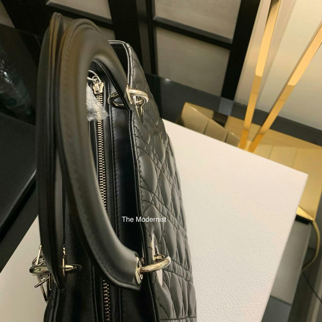 Authentic Christian Dior Classic Medium Black Lambskin Lady Dior Silver Hardware