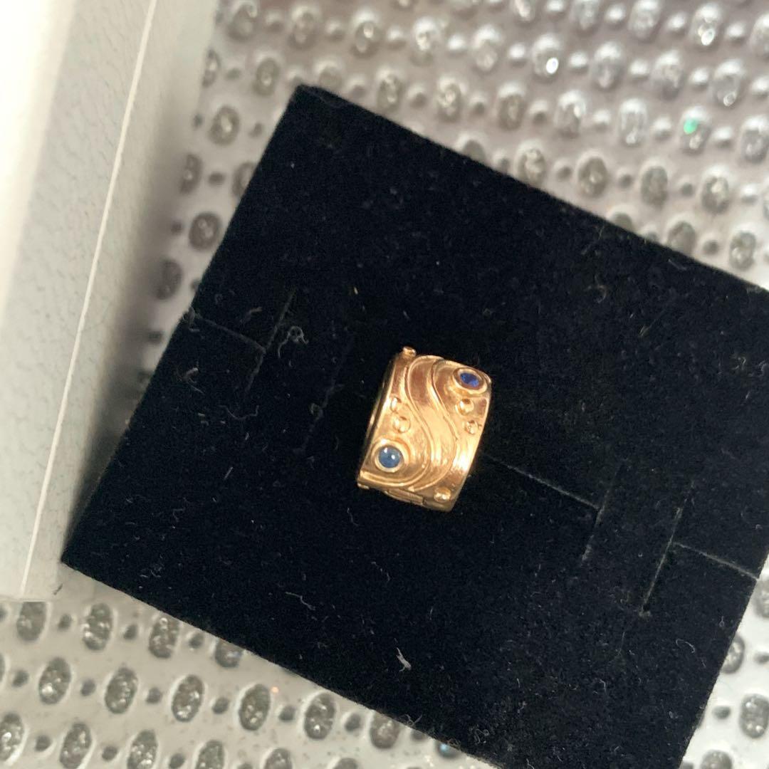 Authentic Pandora 14k Gold Blue Sapphire Babbling Brook Clip Charm 14ct 750418SA