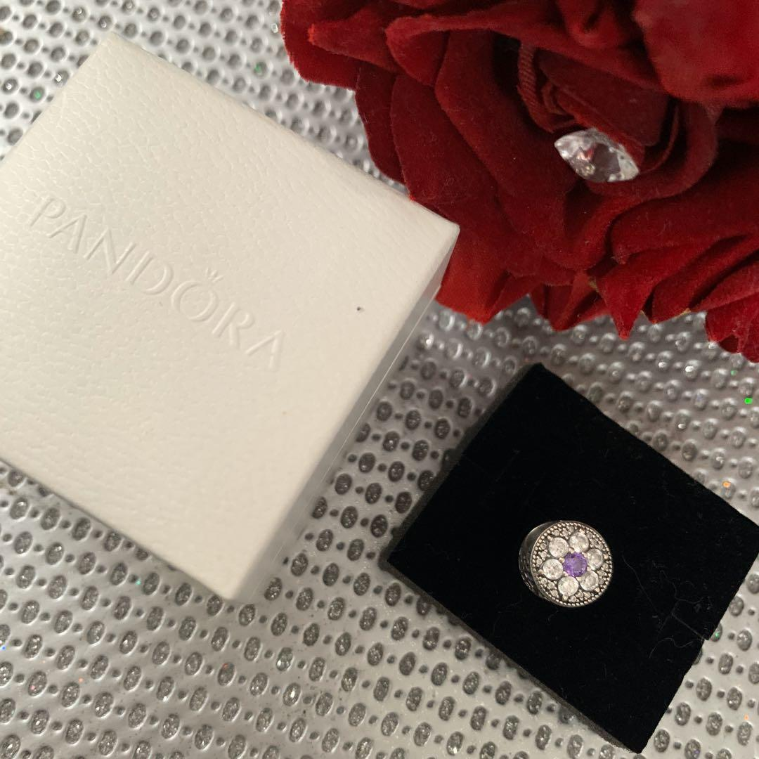 Authentic Pandora Forget Me Not Charm with Purple and Clear CZ,