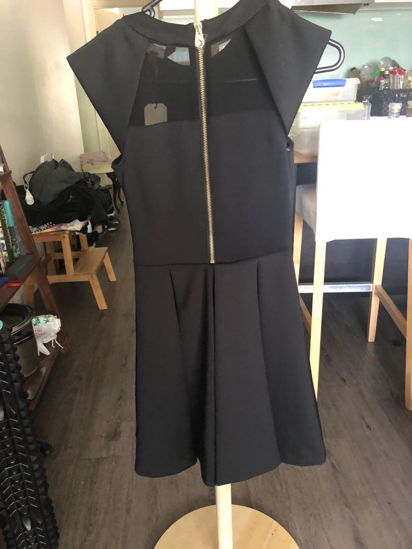 BNWT TED BAKER KIPPS Full Contrast DRESS Black Sz 0 (6)