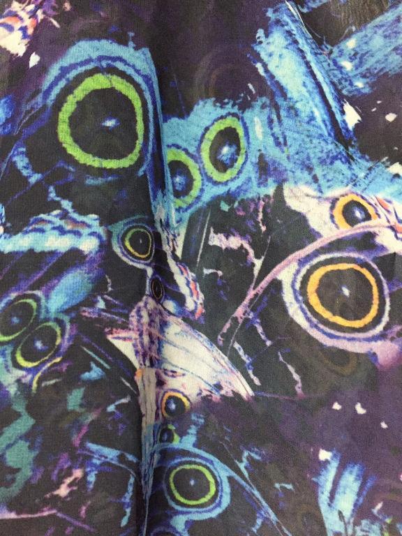 Boohoo Blue Moth Print Open Shoulder Kimono - Size M