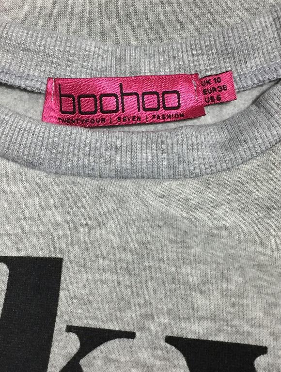Boohoo Grey Tokyo Slogan Crop Sweatshirt Jumper - Size 10