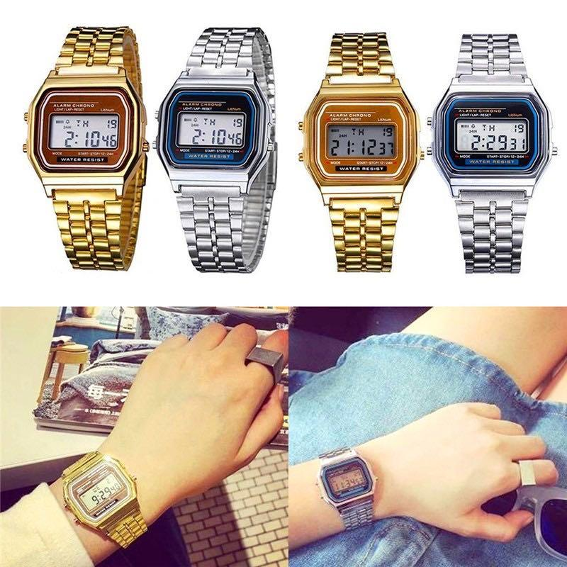 Casio Watch  SS Elegant Mens Womens Retro Stainless Steel LCD Digital Sports Stopwatch Watch