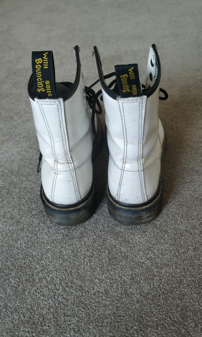Doc Dr Martens White Patent Leather Lace-up 8 eye boots Eur37 us6 uk4