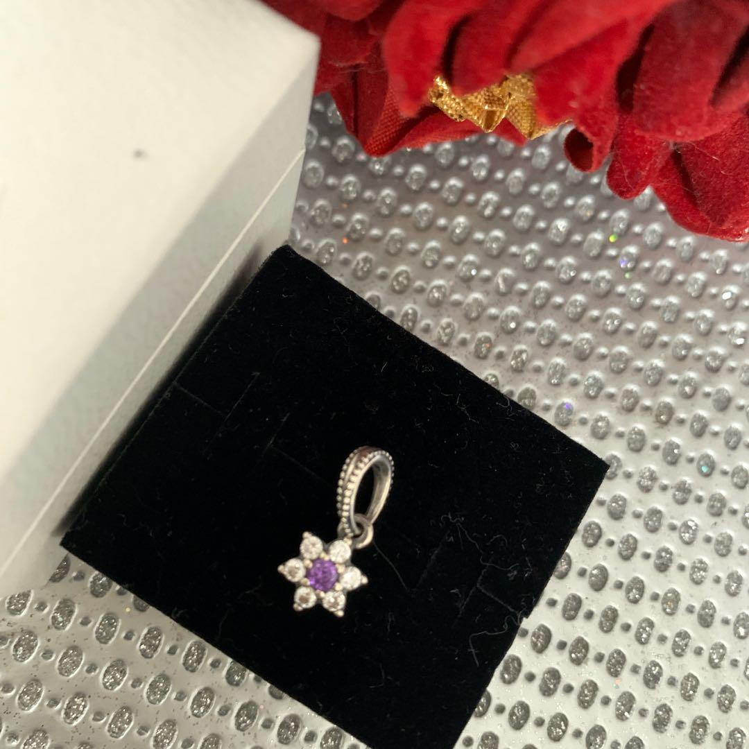FORGET ME NOT PANDORA Purple FLOWER Pendant Charm 791833ACZ