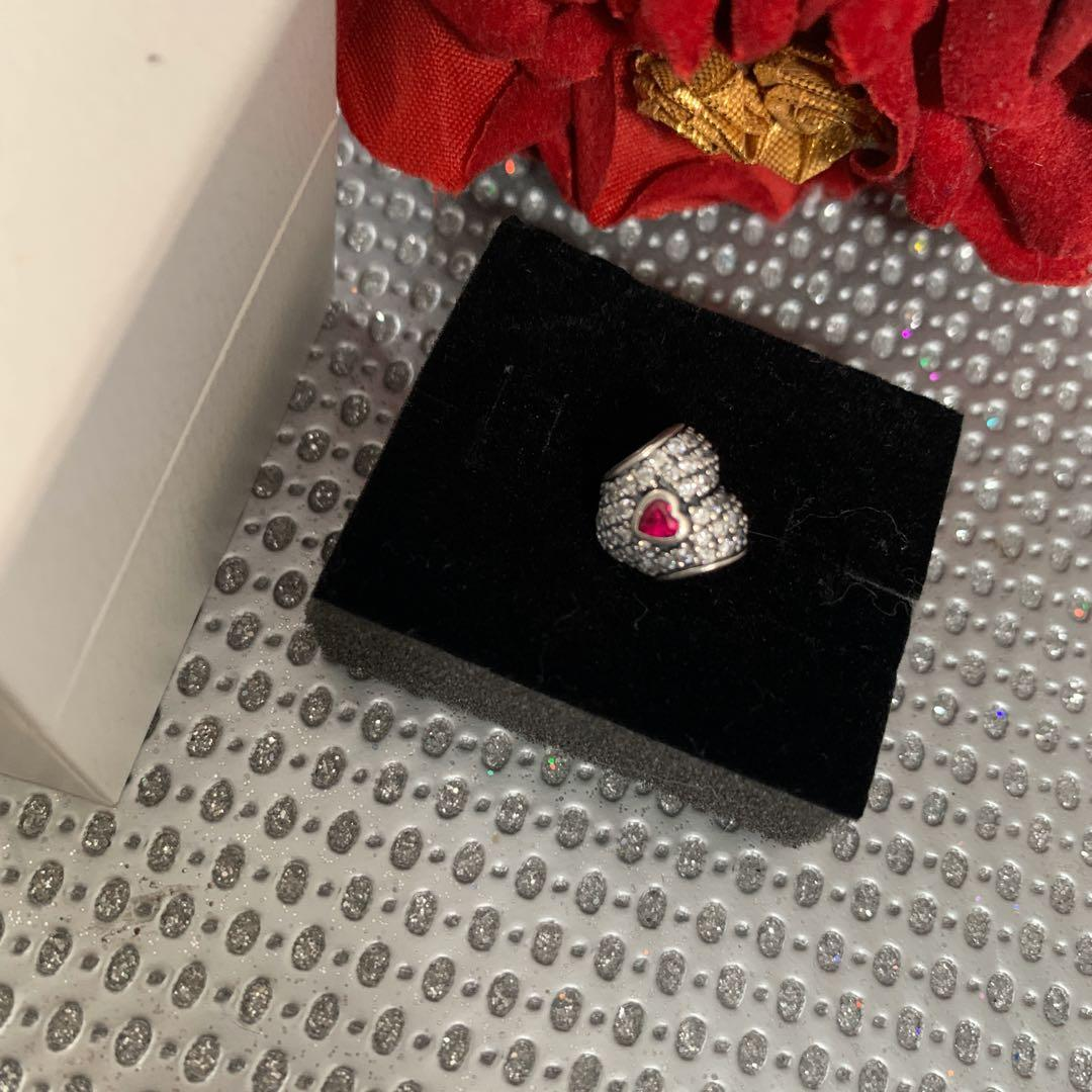 IN MY HEART Authentic PANDORA Silver CLEAR CZ Synthetic RUBY Pave Charm
