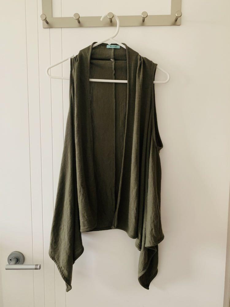 Kookai khaki green sleeveless jacket top free size
