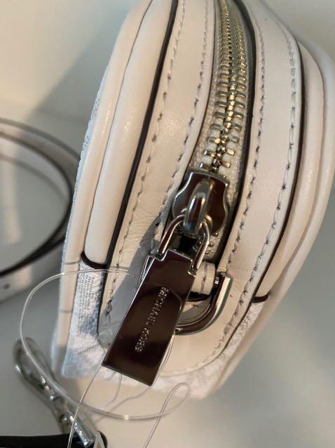 Micheal Kors Crossbodies Small Camera Bag Convertible Crossbody in Signature Bright White
