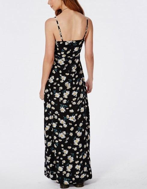 Missguided Daisy Print Floral Button Down Maxi Dress - Size 14