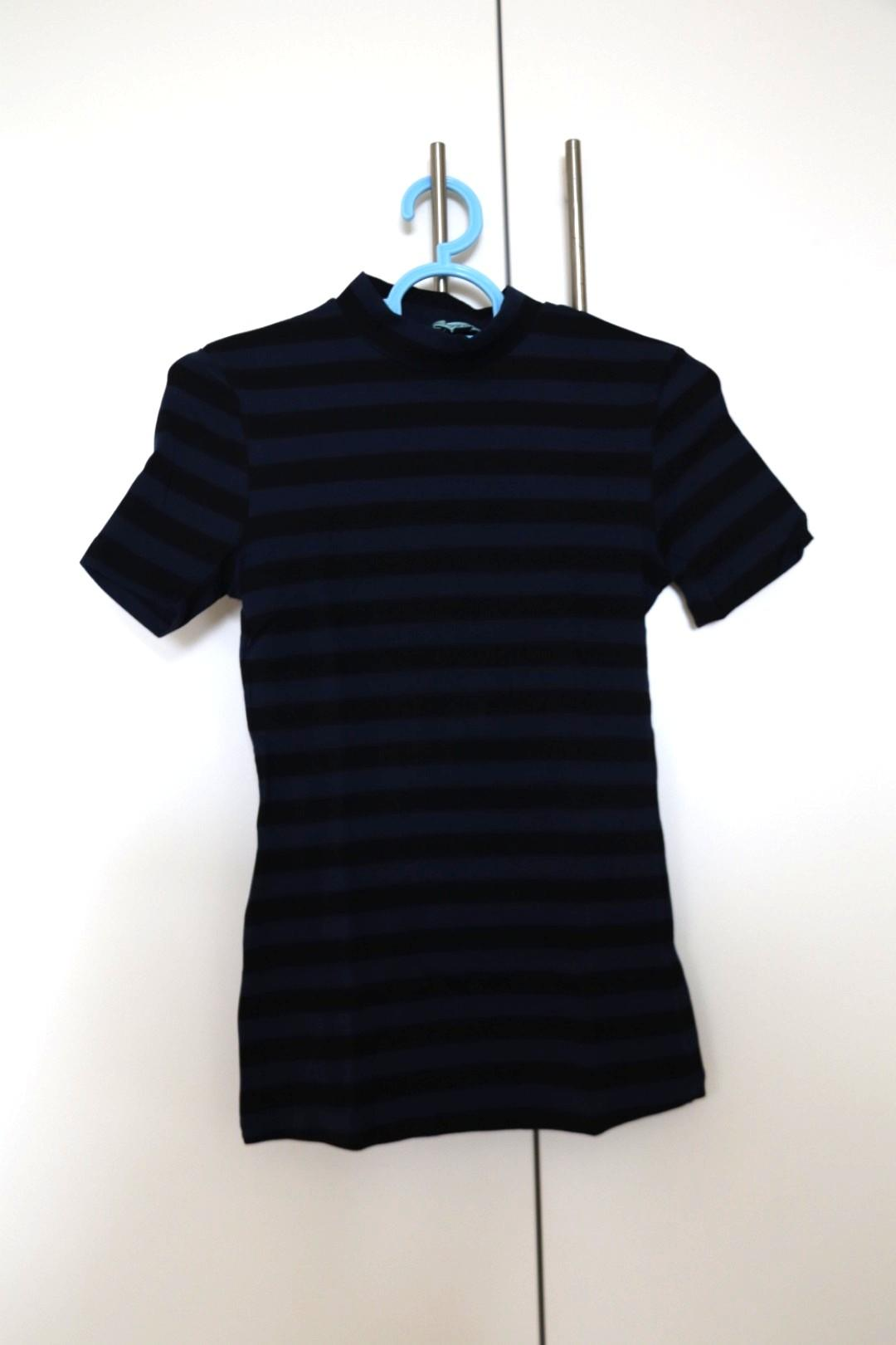 Kookai Mock Neck Top in Black and Blue Stripes | New without Tag