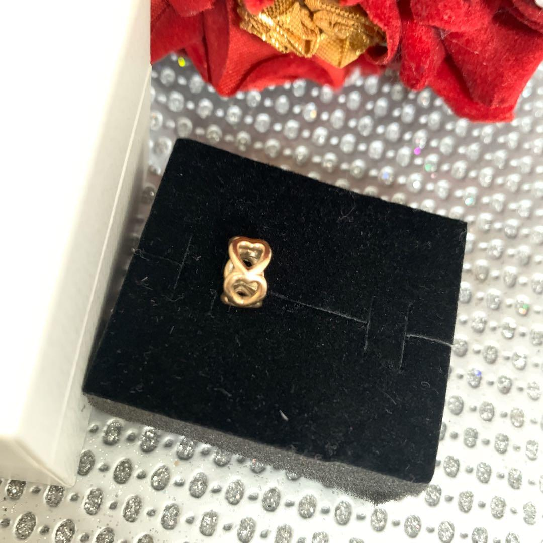 PANDORA 14k Yellow Gold Lucky In Love Spacer Bead Charm #750813