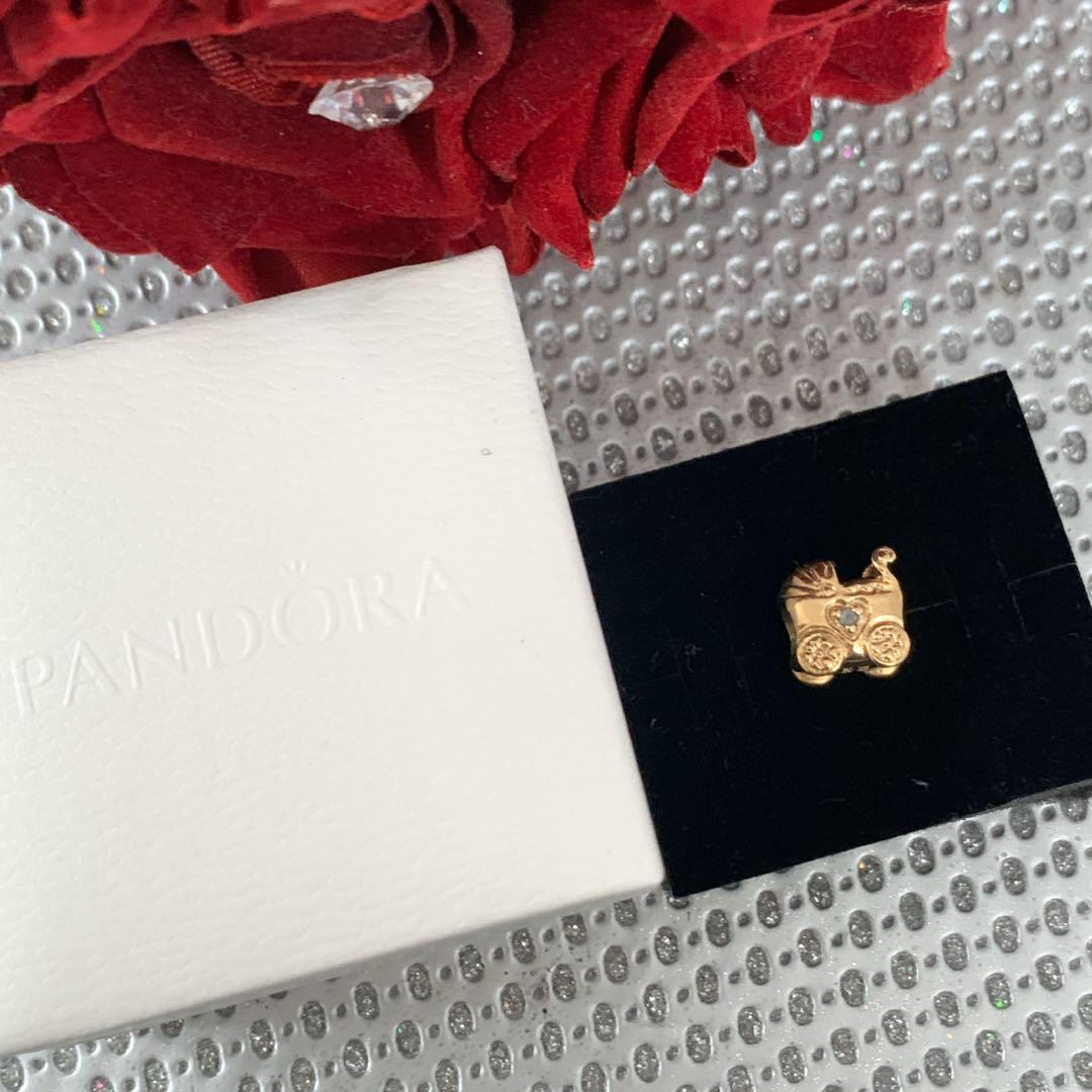 PANDORA | 14K GOLD BABY CARRIAGE CHARM 750409PSA RARE PRAM