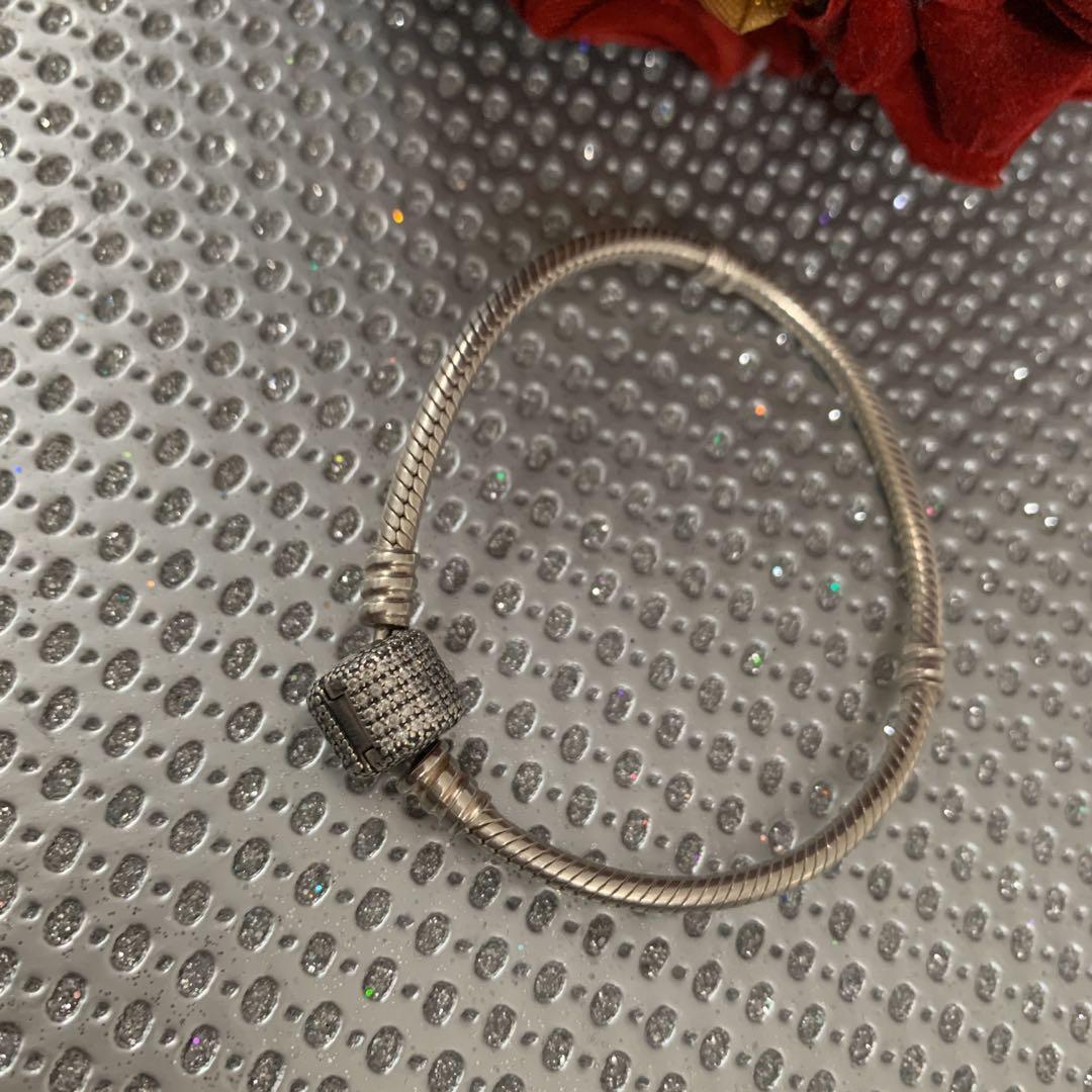 Pandora Moments Sparkling Pavé Clasp Snake Chain Bracelet