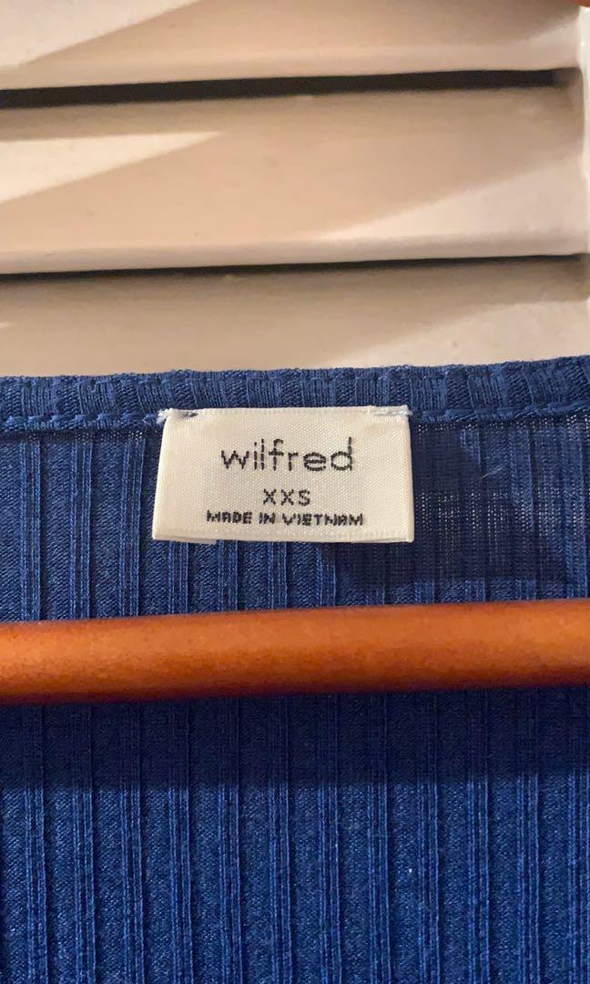 WILFRED x Aritzia - royal blue pearl button up shirt